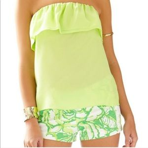 Lilly Pulitzer GINNY STRAPLESS SILK RUFFLE TOP L